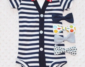 Baby Boy Cardigan and Bow Tie Set, Navy Blue and Grey, Baby Suit, Baby Boy Outfit, Baby Boy Clothes, Preppy Boy Outfit, Smash Cake Outfit