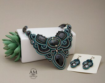stone jewelry set necklace and earrings statement bib necklace black and green seed beads elegant necklace soutache jewelry