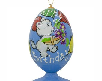 "3.5"" White Cat with Happy Birthday Balloons Wooden Christmas Ornament"