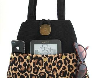 Leopard tote bag, tote with pockets , diaper bag, fabric tote bag, black handbag, shoulder bag purse, vegan bag