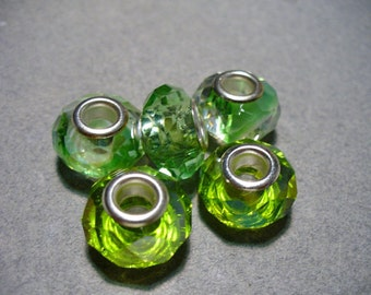 Glass Faceted Beads Green Big Hole Rondelle 13x10mm