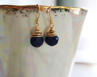 Tiny Lapis Lazuli briolette drop earrings, tiny beauties for everyday!