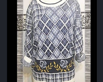 1980's Blue Plaid Rose Oversize Hipster Sweater by Nam Dorsey, Size Medium Large, Vintage 1980's Preppy Baggy Knit Sweater, Breakfast Club