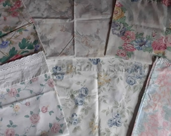 Six floral pillowcases, blue green pink red yellow, some vintage, mostly no-iron,  suitable for use as is or for sewing or crafting with