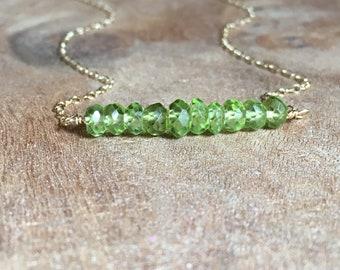 Peridot Necklace - Peridot Jewelry  - August Birthstone Jewelry - Peridot Gemstone Necklace - August Birthstone - Dainty Birthstone Necklace