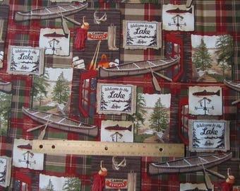Red/Green Plaid Welcome to the Lake Cotton Fabric by the Yard