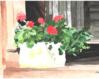 Red Geraniums on Window Sill watercolour original