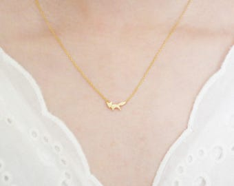 Fox Necklace Animal Pendant Silver/ Gold Plated Small  Necklace For Women/ Girls Jewelry