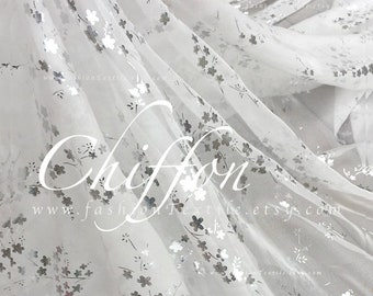 White chiffon faux silk Golden cherry blossom fabric by meter