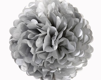 "4"" Metallic Silver Tissue Paper Pom Poms-Mini Paper Flower Pom- Wedding Decoartion-Baby Shower- Bridal Decor-Hanging Room Paper Pom-Birthday"