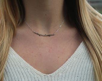 Silver Branch Necklace, Sterling Silver Branch Necklace, Oxidized Silver Branch, BRANCH NECKLACE