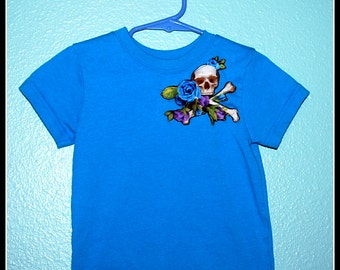 Boys Rockabilly Skulls n Bones T Shirt....size 18 months