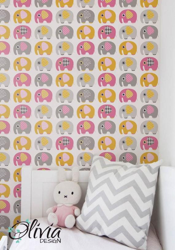 Colorful Elephant Self Adhesive Kids Room Wallpaper PEEL And
