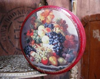 Vintage Tin, Floral Tin, Fruit Tin, Collectible Tin, Decorative Tin, Mid Century Decor, 1960s Tin, Round Tin, Candy Tin, Toffee Tin, Sweets