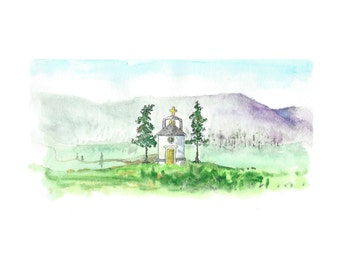 Wall decor, art for wall, little church on prarie, art print from original watercolor painting, gift for him, gift for her, office decor