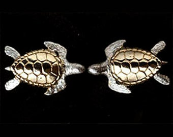 Turtle cufflinks  in 24 carat gold on Sterling Silver.