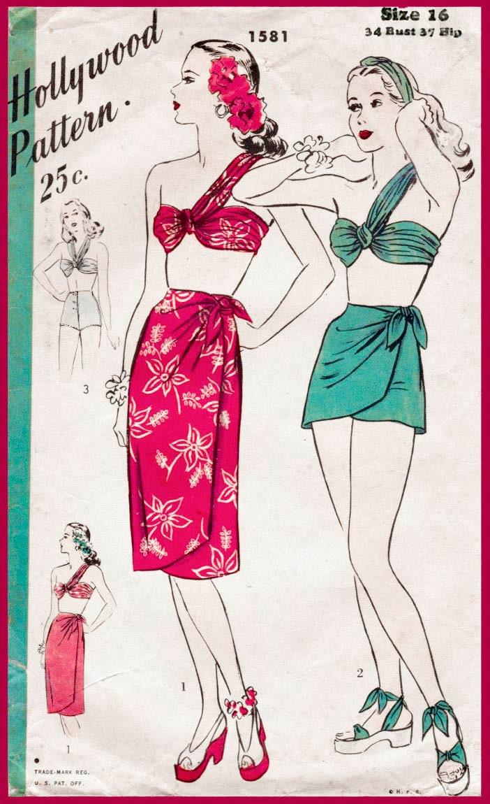 1940er Jahre 40er Jahre Vintage Nähen Muster Bikini BH wickeln