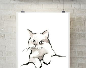 Minimalist Cat Fine Art Print, Watercolor and ink painting print, Cat Art, cat wall art print, modern print of cat