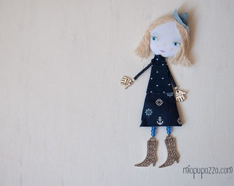 Art Doll Brooch, Sea Girl, mixed media collage