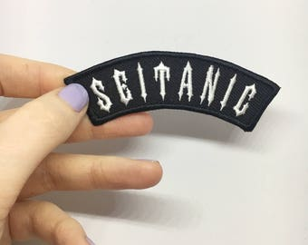 SEITANIC / iron on patch / feminist embroidery / vegan badge