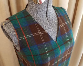 Vintage, 1960s, College Town, Brown, Green, Blue, Red, Windowpane, Plaid, Wool, Sleeveless, V-Neck, Dress, Jumper, Tunic, Shift