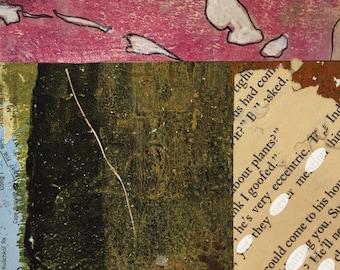 Tempête - Collage Original dessiné et peint à la main avec des papiers de 4 x 4 sur 5 x 5» support