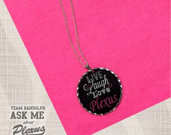 Plexus Jewelry, Plexus Necklace, Live Love Plexus, Plexus Pendant, Polished Scalloped Edge, 18 Inch Silver Plated Chain