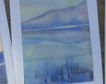 "Watercolour ""Lakeside "" original fine art image  6 x 4 inches on a  7 x 5 inch card -SALE-"