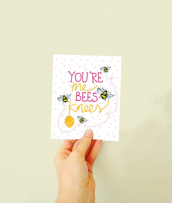 Plant the card & watch it grow - made with seeds - you're the bees knees! card to celebrate - card for loved ones - bumble bees - wildflower