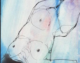Aura #4- Original ink & watercolor drawing
