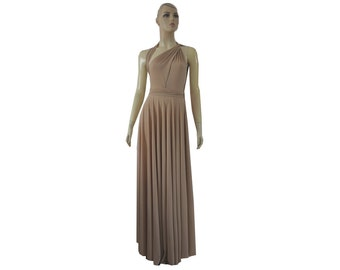 Long Convertible Dress Beige Bridesmaid Tan Maxi Wrap Infinity Dress XS-5XL