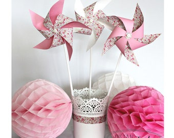 3 large pinwheels that spin in liberty Eloise Pink for table decoration