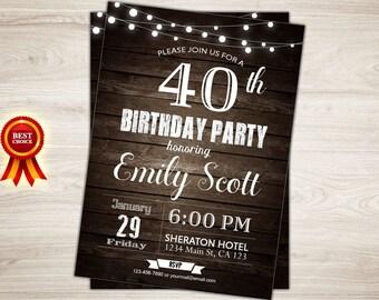Surprise 40th birthday invitation. Rustic wood 40th Birthday Invitation for Men. Surprise birthday party invitation. Printable invite