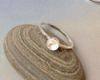 5mm Rose Cut Rose Quartz Stacking Ring, April Birthstone, Bezel Set,  Rose Quartz Ring, Sterling Silver, Gold Filled, April Birthday Gift
