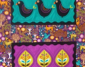 Woodland Quilt, Folkart quilt, Colorful, folksy, decorative stitching, lap quilt, throw, baby quilt