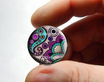 Glass Cabochon - Art Deco Floral Design 13 - for Jewelry and Pendant Making