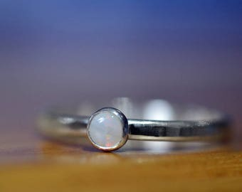Little White Opal Ring, Solid Opal Jewelry, Personalised Custom Engraved Sterling Silver Ring, Dainty Natural Stone Promise Jewelry