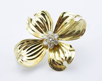 Vintage 18K Yellow Gold Diamond Dogwood Brooch