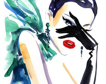 Glamour Art Print, Fashion Illustration print, Fashion Wall Art, Original Watercolor Print, Fashion Gift, Girl with Green Scarf Print,