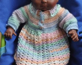 Robe bébé en crochet, fait à la main, laine en dégradé, col Claudine, poignet picot, layette, crochet