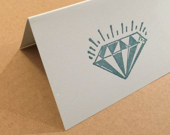 Sparkling Diamond Note Cards Folded 8 Pack Letterpress engagement cards bridal shower invitations jewel crystal jewelry show wedding ring