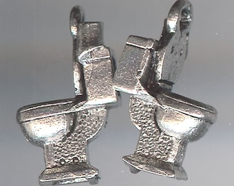 TOILET Charm. Pewter. 3D. Commode. Bathroom. Restroom. Made in the USA. qst