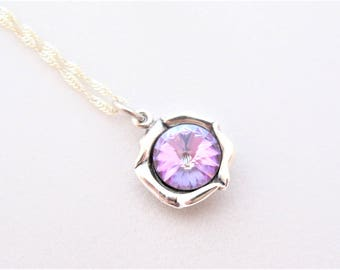 Purple Pendant, Soft Purple, Pink and Blue Swarovski Crystal Element pendant on Sterling Silver 925 necklace