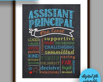 Assistant Principal Gift, Assistant Principal Chalkboard Style Printable, Unique Assistant Principal Gift, Personalized Digital File P3
