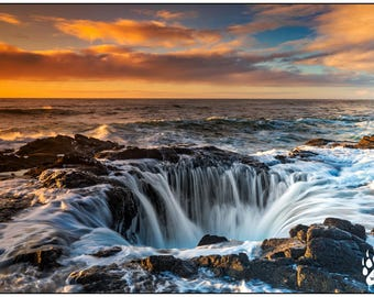 Thor's Well, Ocean Photography, Cloudy Sky, Oregon Coast Photography, Landscape Photography, Dramatic Sunset, Oceanscape, Rob's Wildlife