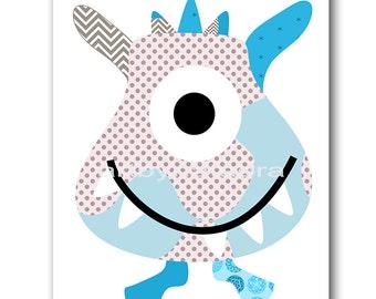 Monster Nursery Art Print Baby Nursery Print Baby Boy Nursery Decor Digital Art Printable Print Digital Download 8x10 11X14 INSTANT DOWNLOAD