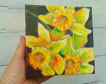 Daffodil painting, Spring floral art, Yellow floral art, 6x6 by Shirley Lowe, spring floral, gardeners gift, Easter gift, daffodil lover