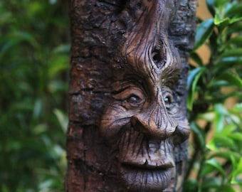OOAK wood carved face dryad