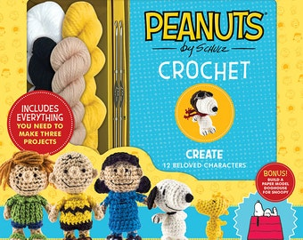 Peanuts Crochet Kit by Kristen Rask BRAND NEW (sealed) with pattern book and yarn in box Snoopy, Charlie Brown, Peanuts Gang by Schulz