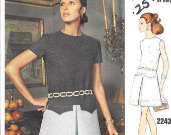 VOGUE 2243 Size 10 Bust 32 1/2 Galitzine Vintage 1960's Low-Waist A-Line Dress Split Front Sleeves Sleeveless Round Neck Designer Pattern
